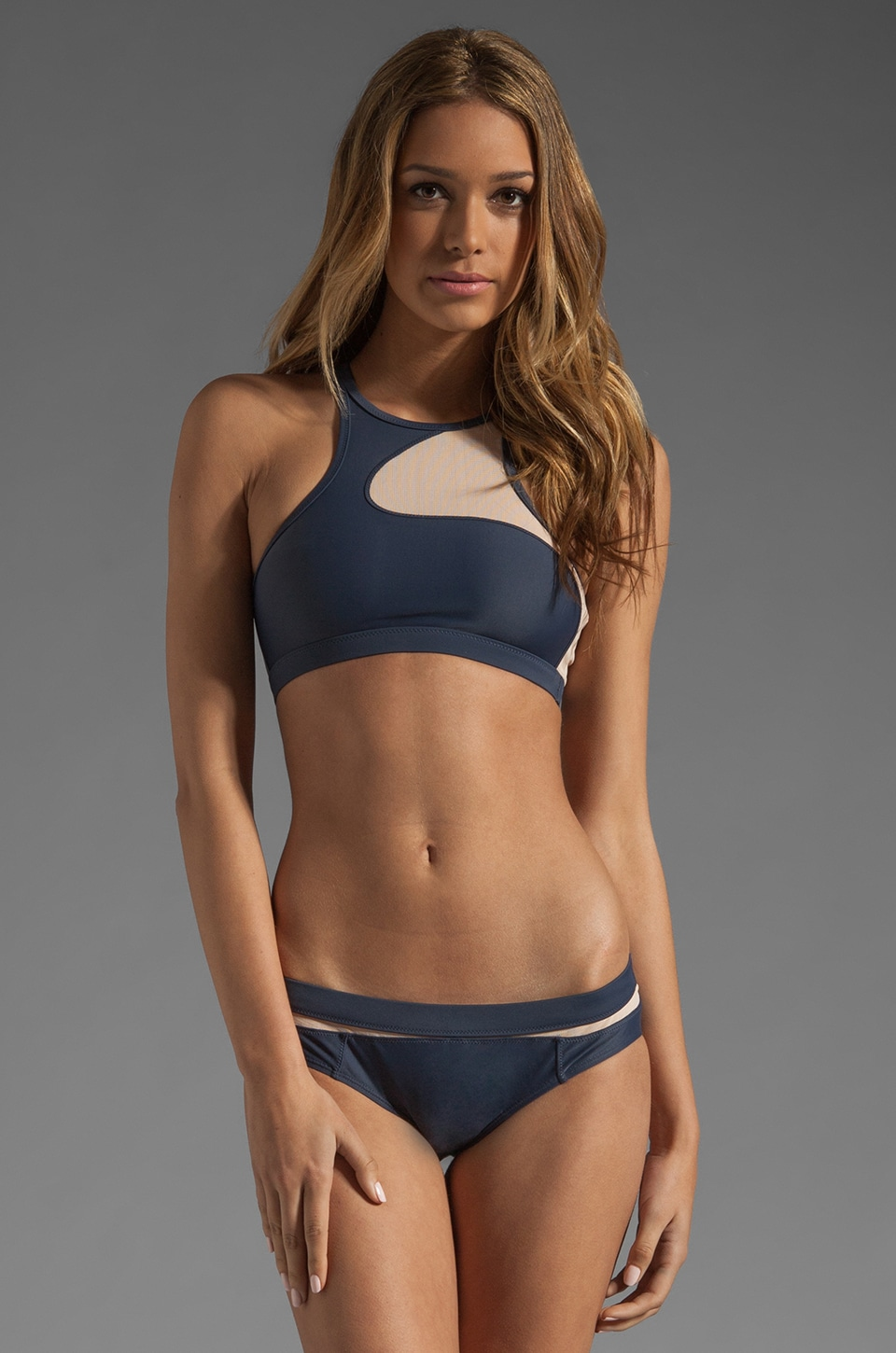 adidas by Stella McCartney Swim Top in Urban Sky/Soft Powder