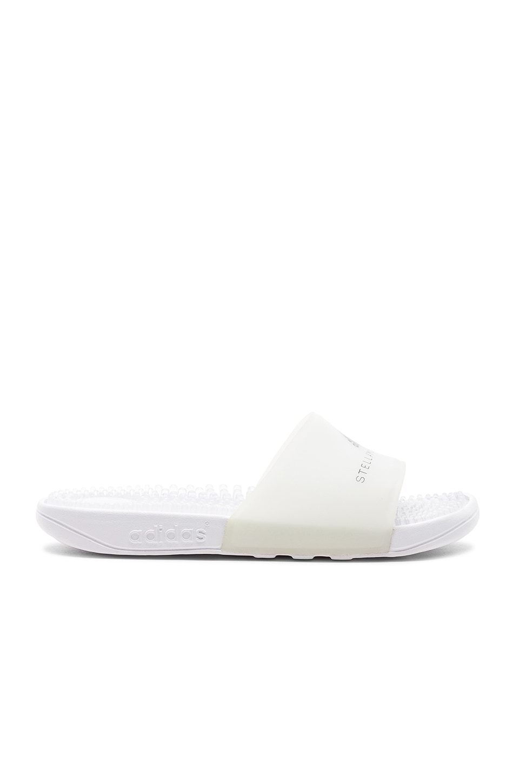 Adidas Originals Adissage Rubber Flat Pool Sandal In White & Grey Four