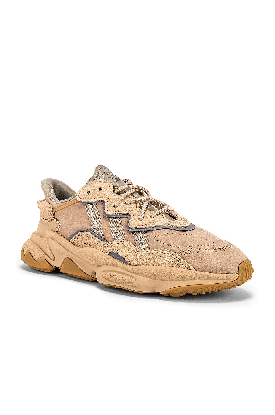 adidas Originals Ozweego in St Pale Nude & Light Brown & Solar Red