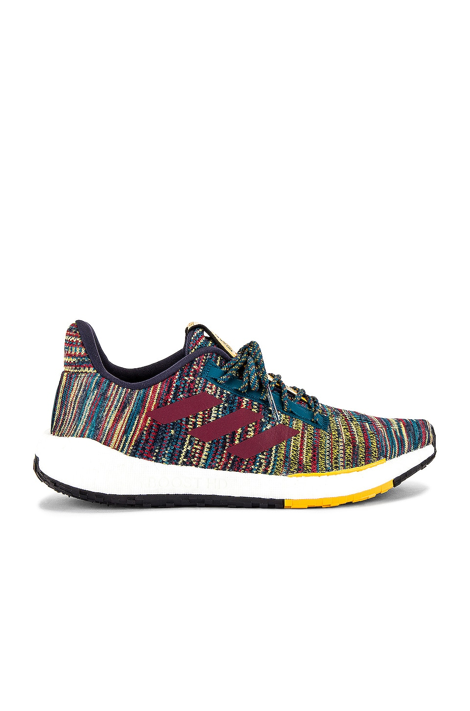 adidas by MISSONI Pulseboost HD in Tech Mineral & Collegiate Burgundy & Active Gold