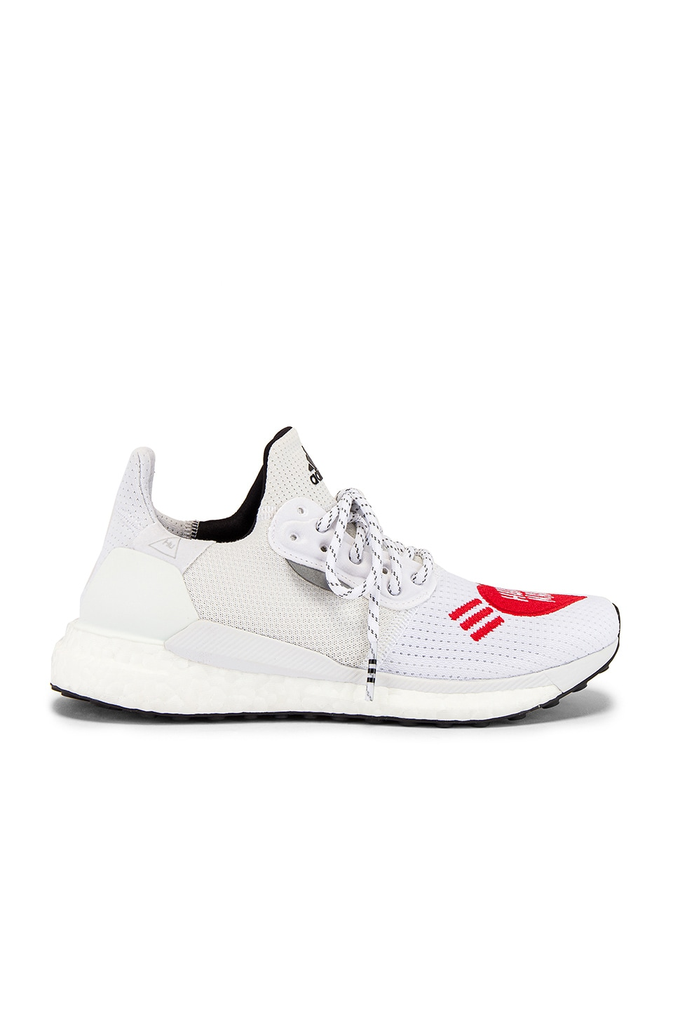 adidas x Pharrell Williams Solar Hu Human Made Sneaker in White & Scarlet