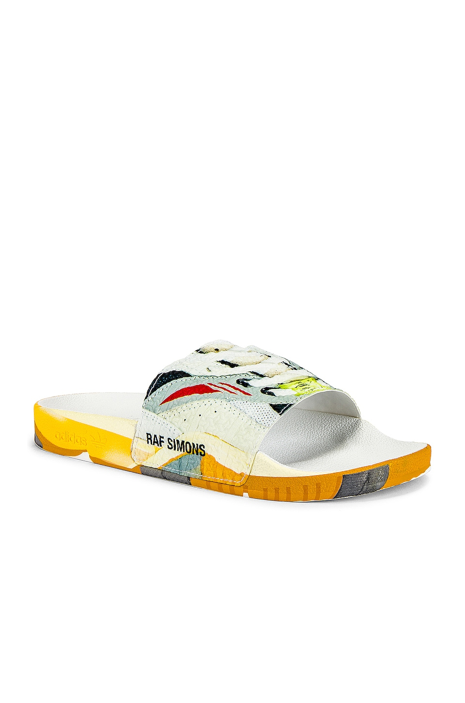 adidas by Raf Simons Torsion Adilette Slides in White & Multi