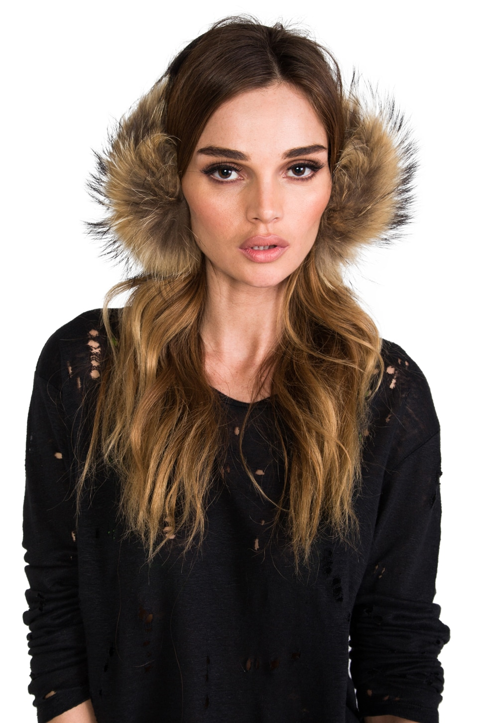 Adrienne Landau Raccoon Ear Muff in Natural