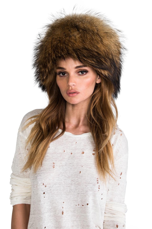 Adrienne Landau Raccoon Hat in Natural