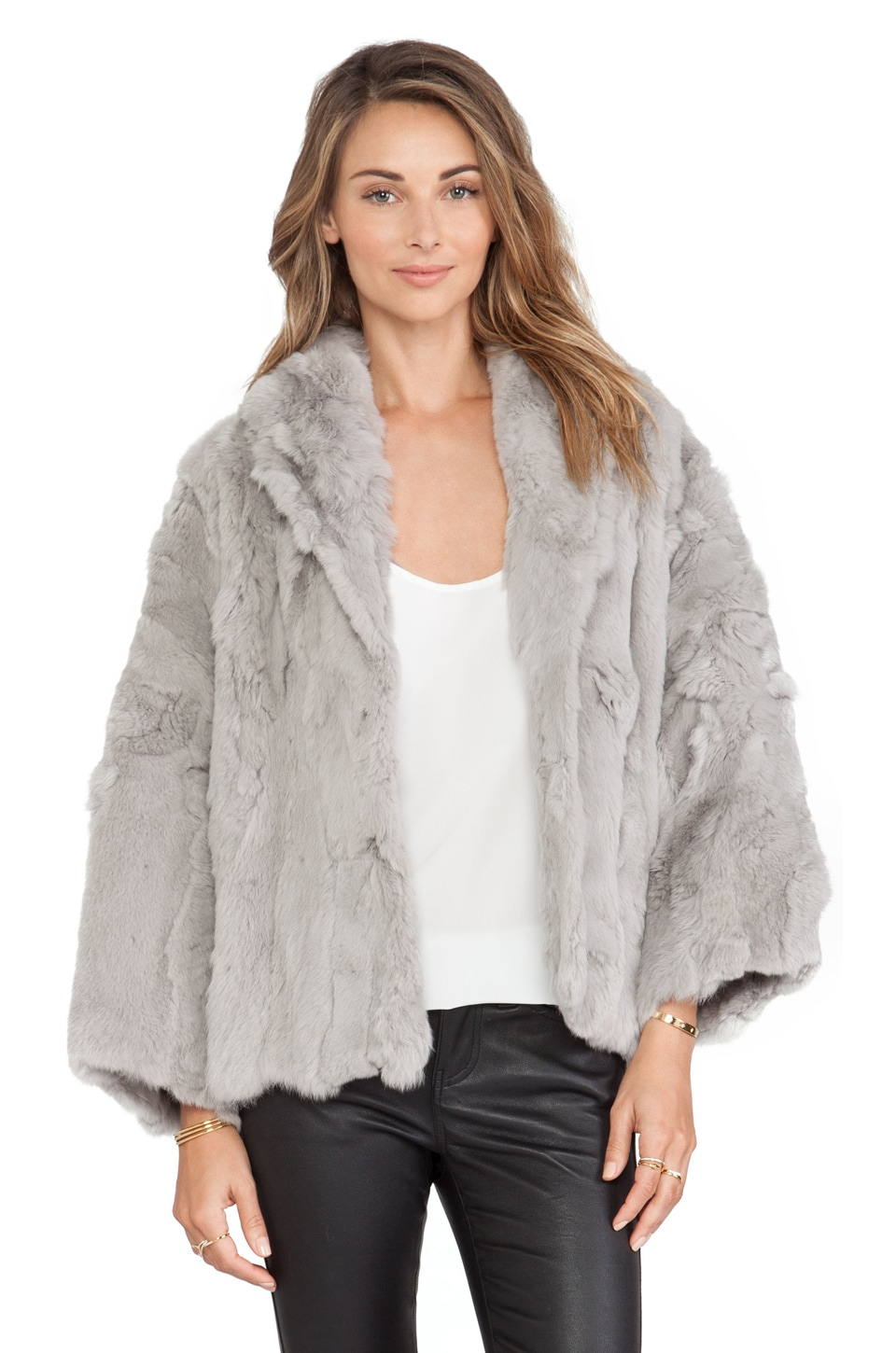 Adrienne Landau Textured Rex Little Swing Rabbit Fur Jacket in ...