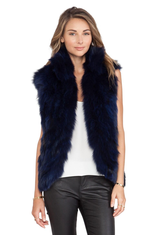 Adrienne Landau Fox Fur Vest in Navy