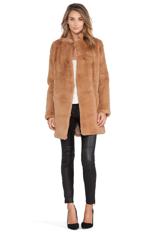Adrienne Landau Rabbit Fur Peacoat in Luggage