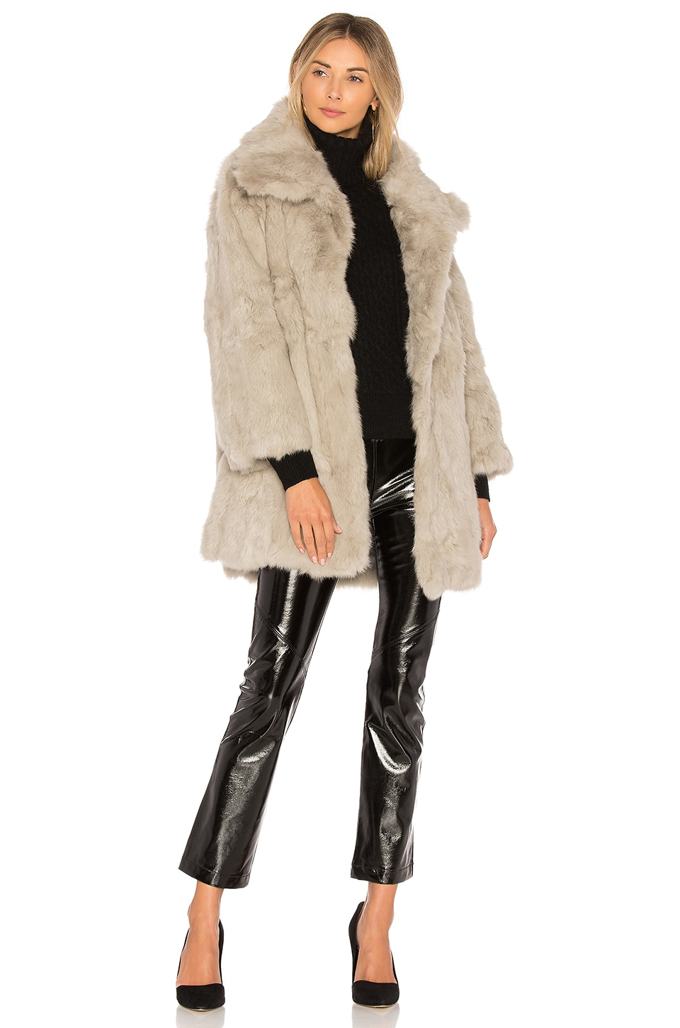 Adrienne Landau Textured Rabbit Fur Coat in Light Grey