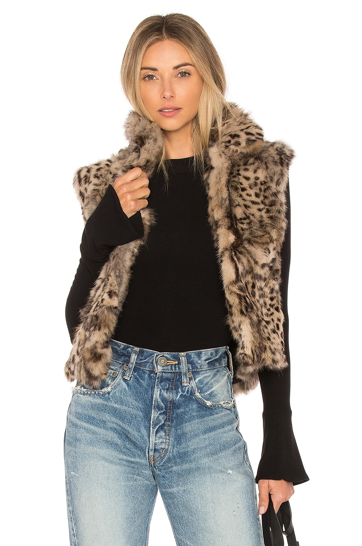 Adrienne Landau Printed Rabbit Vest in Leopard