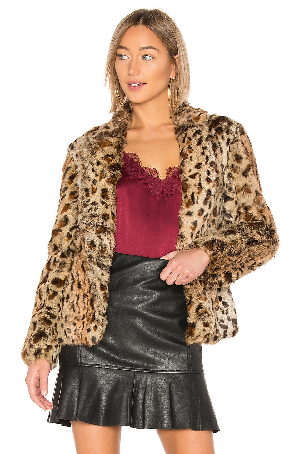 Adrienne Landau Rabbit Jacket in Leopard