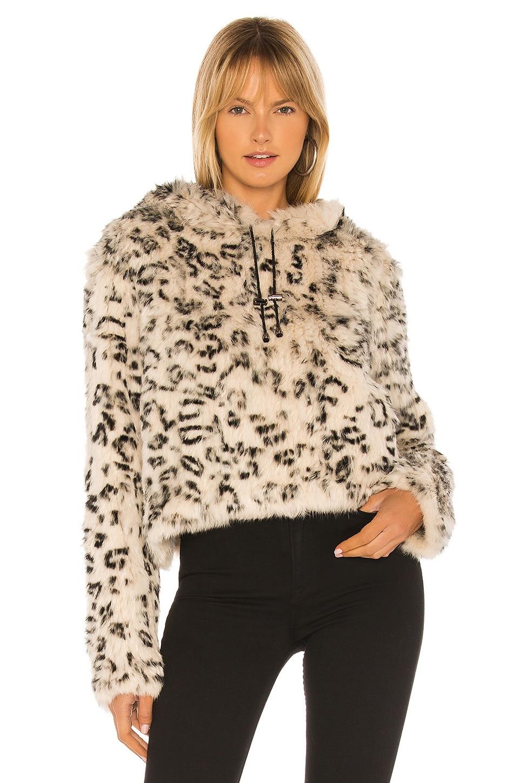 Adrienne Landau Knit Rabbit Fur Hoodie in Black & White