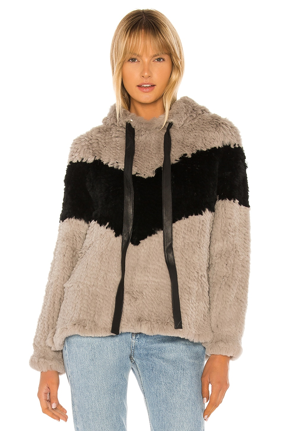 Adrienne Landau Knit Rabbit Fur Hoodie in Grey