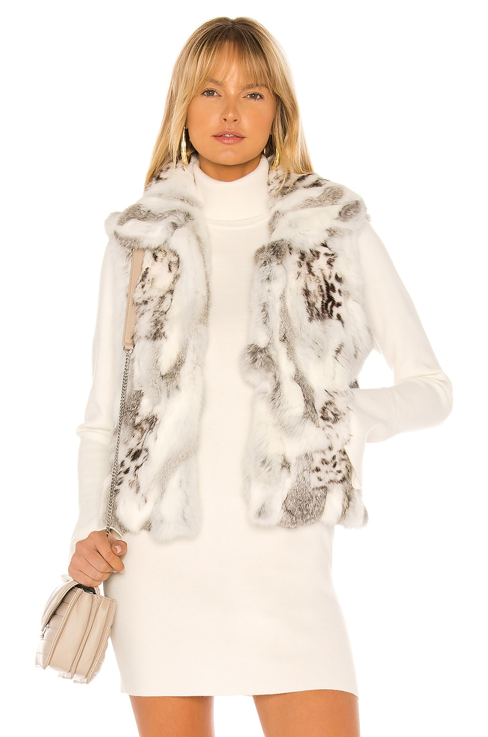 Adrienne Landau Printed Leopard Rabbit Fur Vest in Natural Grey