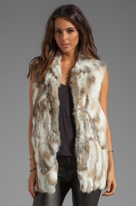 Adrienne Landau Rabbit Vest in Natural