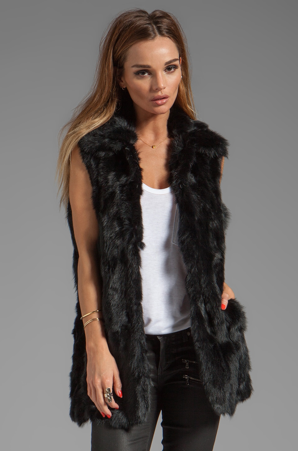 Adrienne Landau Rabbit Vest in Black