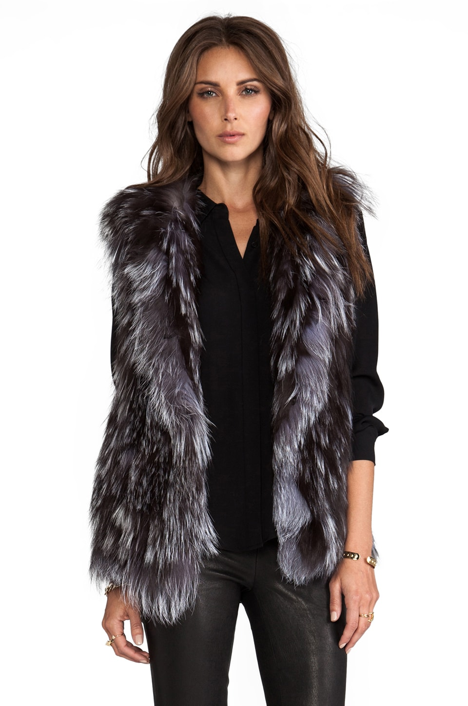 Adrienne Landau Knit Silver Fox Vest in Natural