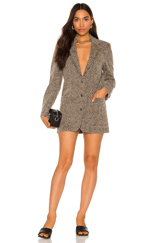 AFRM Royce Blazer Dress in Leopard Print