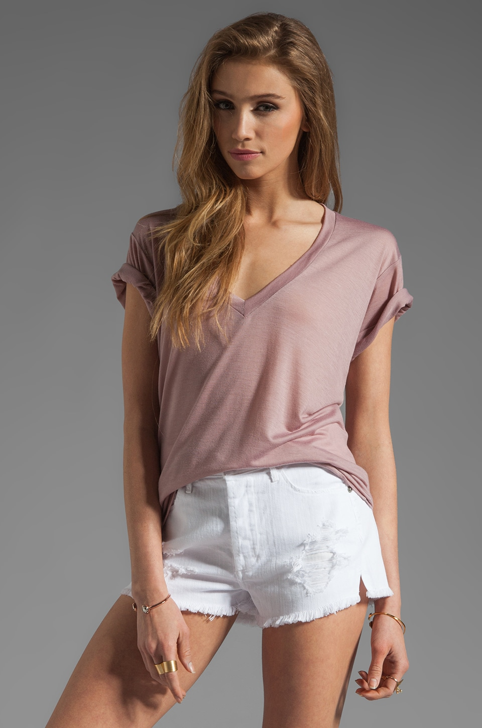 A Fine Line Levi V Neck Tee in Mauve