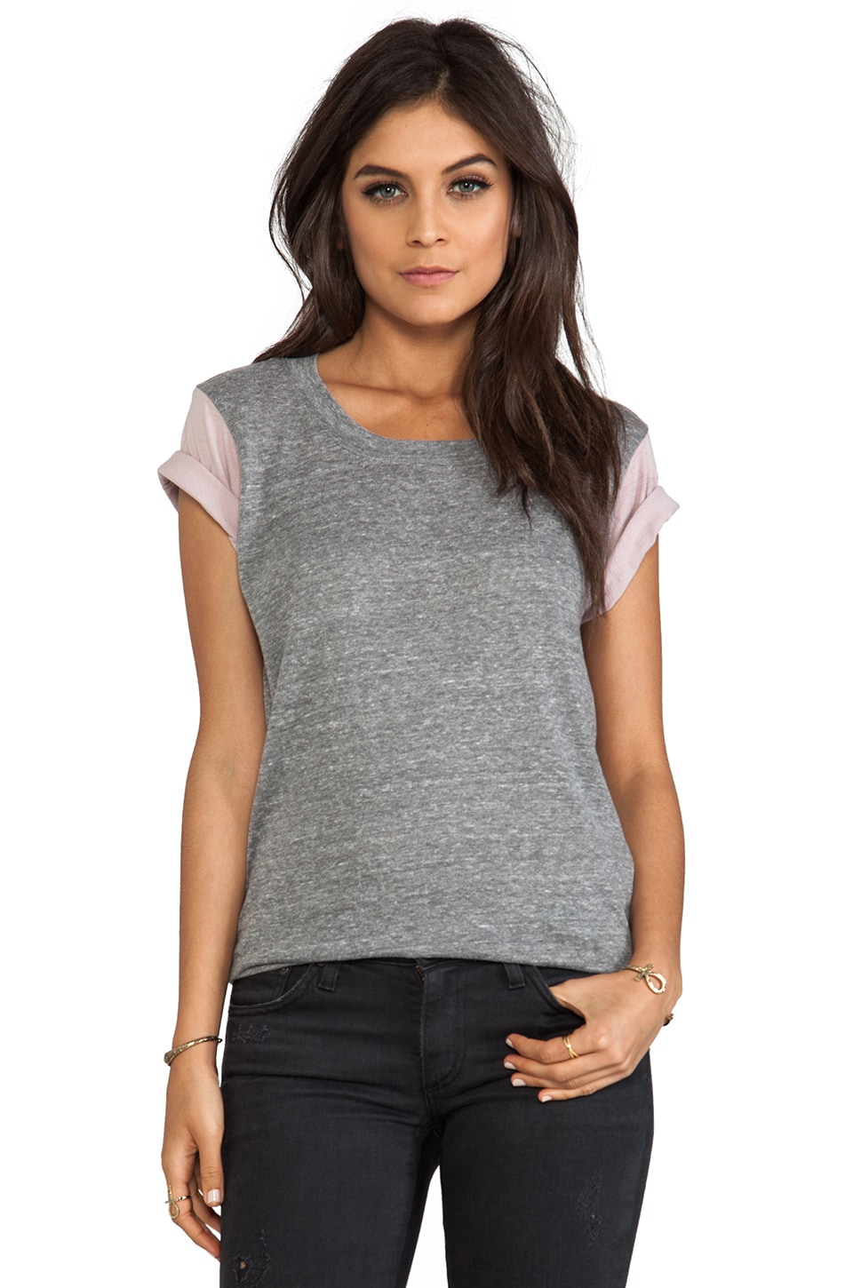 A Fine Line Andie Colorblock Sleeve Tee in Heather Grey/Mauve