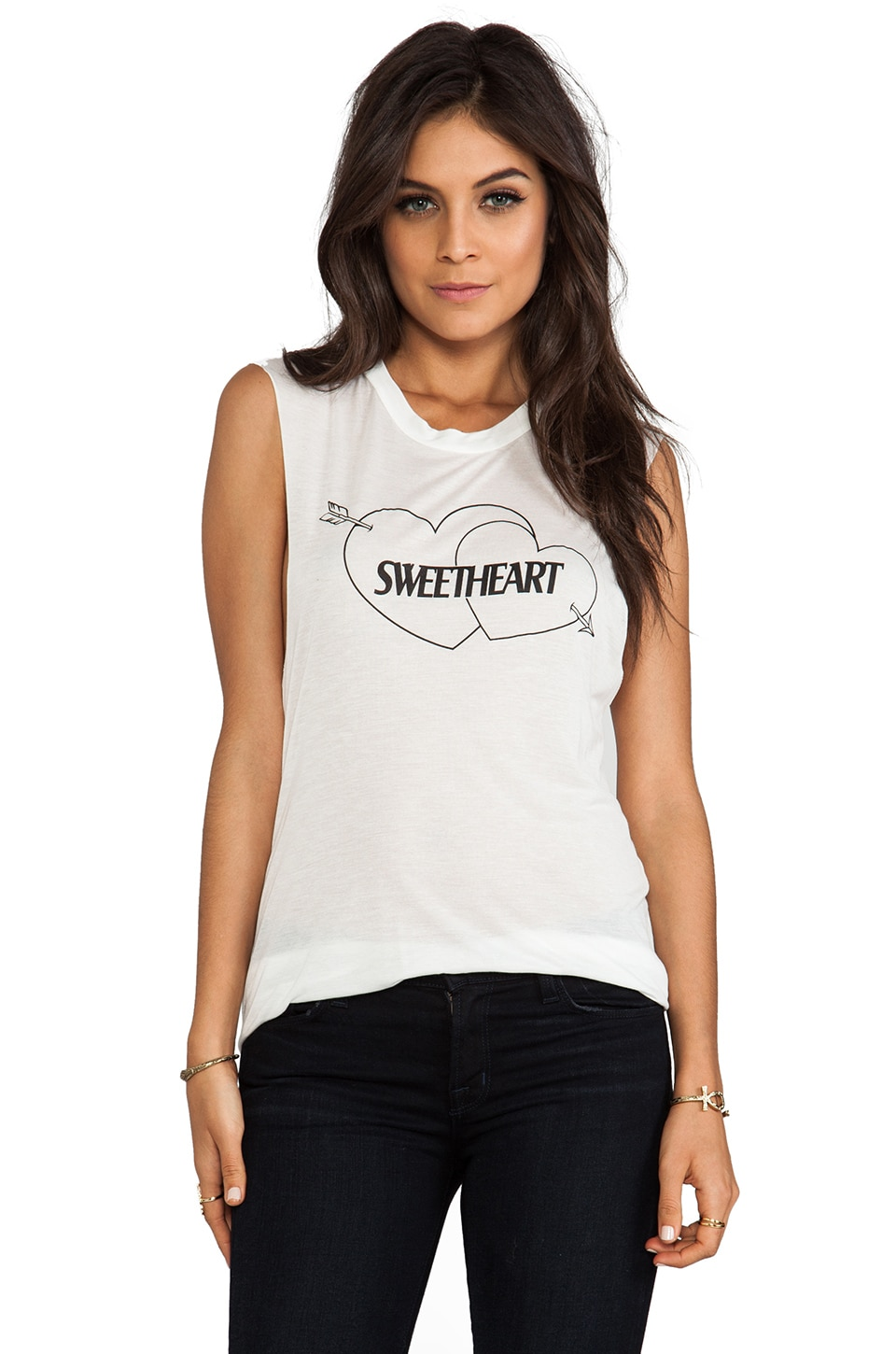 A Fine Line Sweetheart Tank in White