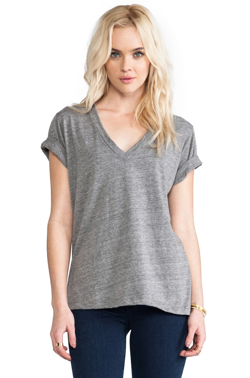 A Fine Line Levi V Neck Tee in Heather Grey