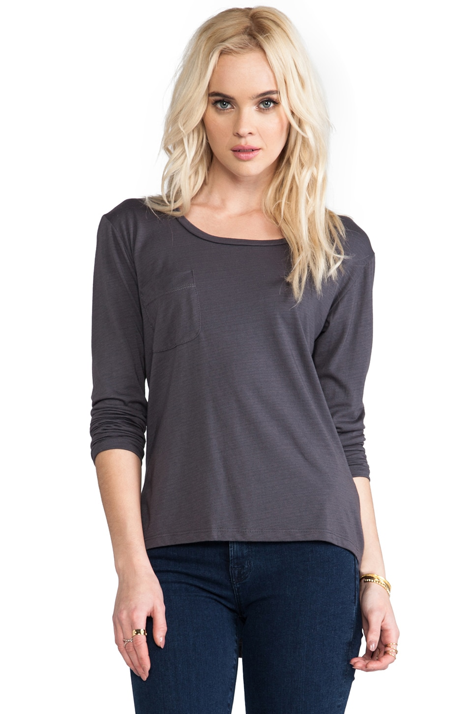 A Fine Line Farrah Long Sleeve Top in Charcoal