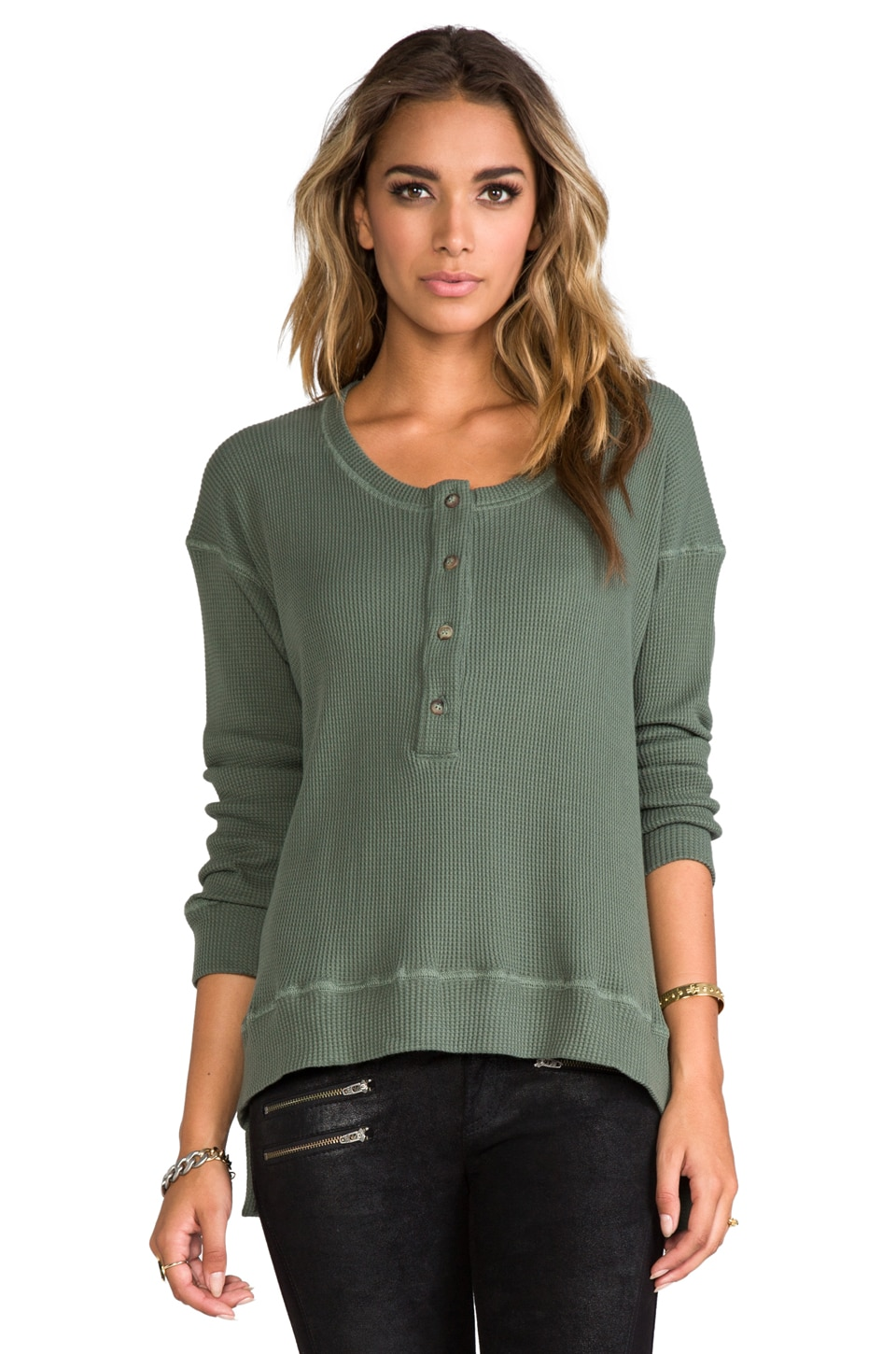 A Fine Line Elliot Thermal Henley in Ivy