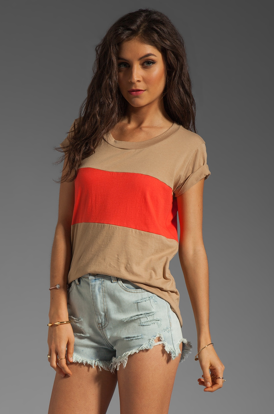 A Fine Line Davy Colorblock Tee in Tan/Poppy