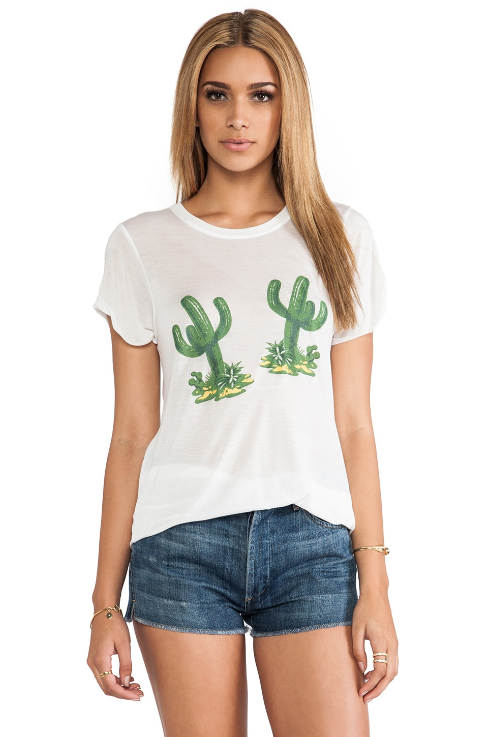 A Fine Line Hello Cactus Hastings Tee in White