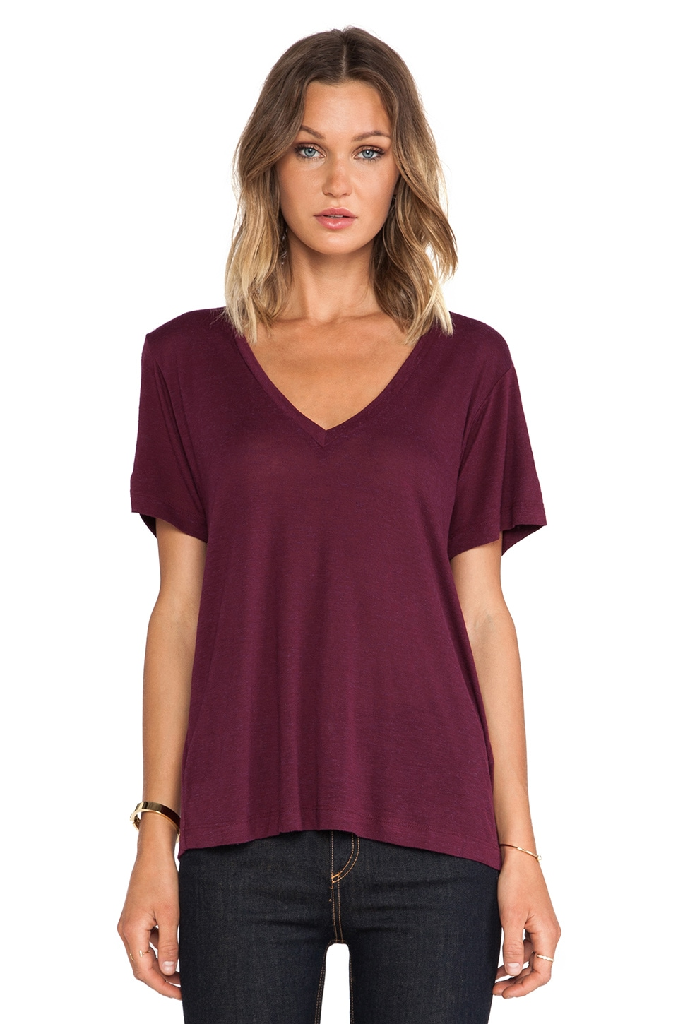 A Fine Line Levi V Neck Tee in Maroon