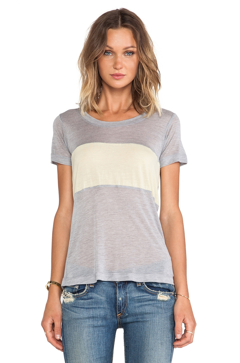 A Fine Line Colorblock Davy Tee in Heather Grey/Chartreuse