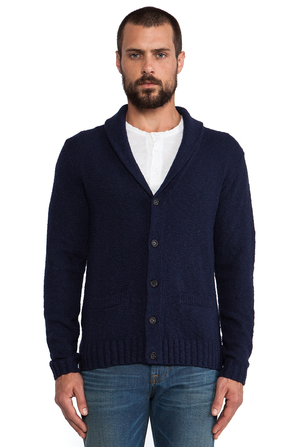 AG Adriano Goldschmied Span Shawl Cardigan in Double Indigo