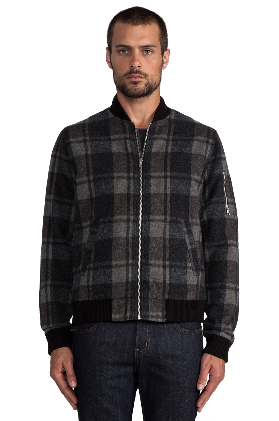AG Adriano Goldschmied Bomber Jacket in Charcoal/Brown Plaid