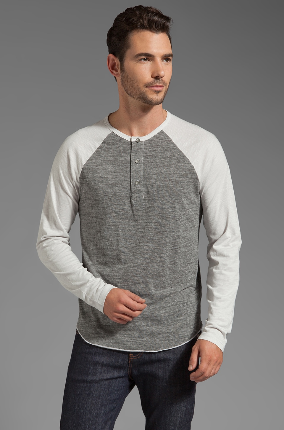AG Adriano Goldschmied Mixed Raglan Henley in Antique White