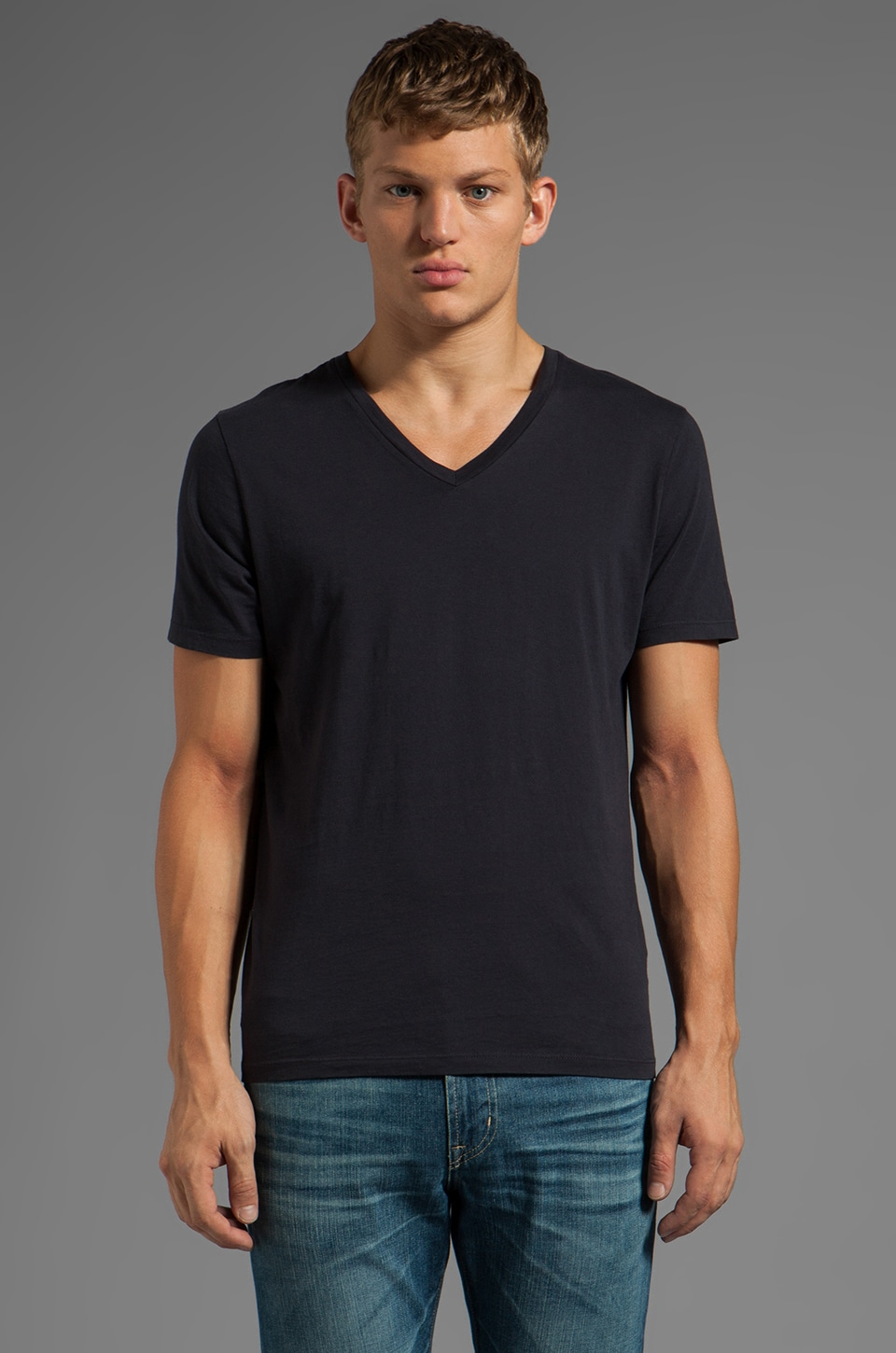 AG Adriano Goldschmied Standard V Neck in Dark Navy