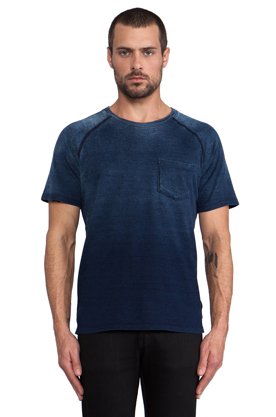 AG Adriano Goldschmied Saddle Shoulder Pocket Tee in Vintage Indigo