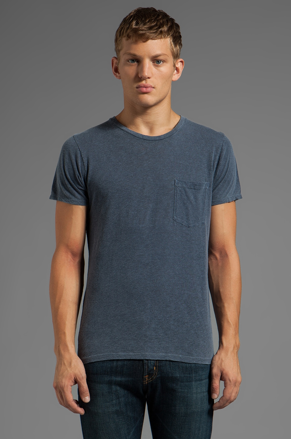 AG Adriano Goldschmied Back Seam Pocket Tee in Pigment Ink