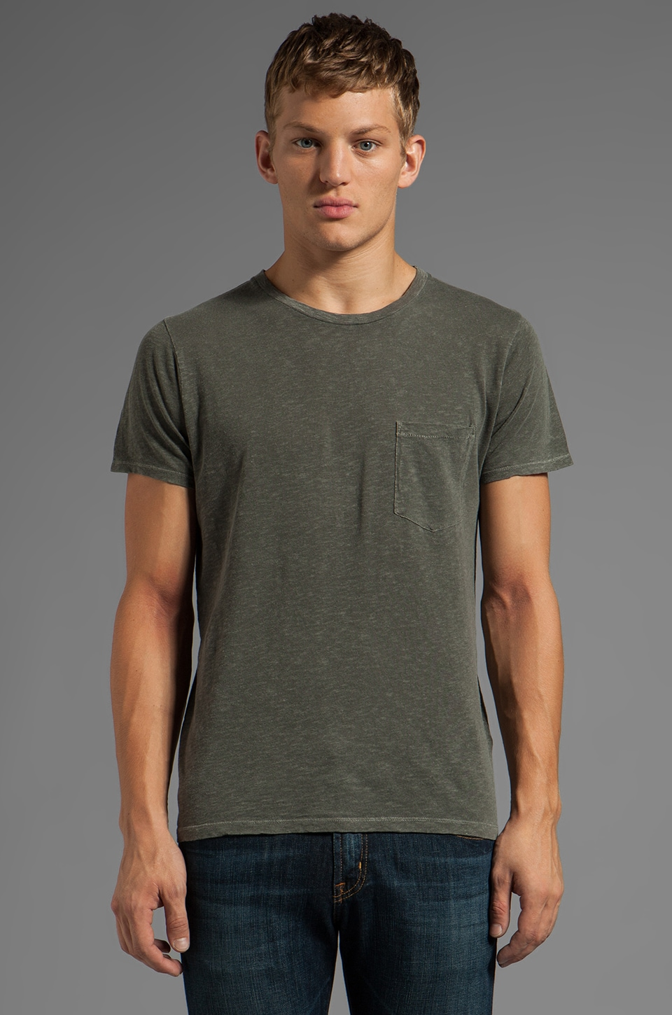AG Adriano Goldschmied Back Seam Pocket Tee in Pigment Diesel