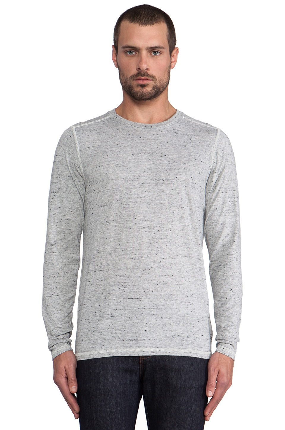 AG Adriano Goldschmied L/S Tri-Blend Crew in Peppered Grey