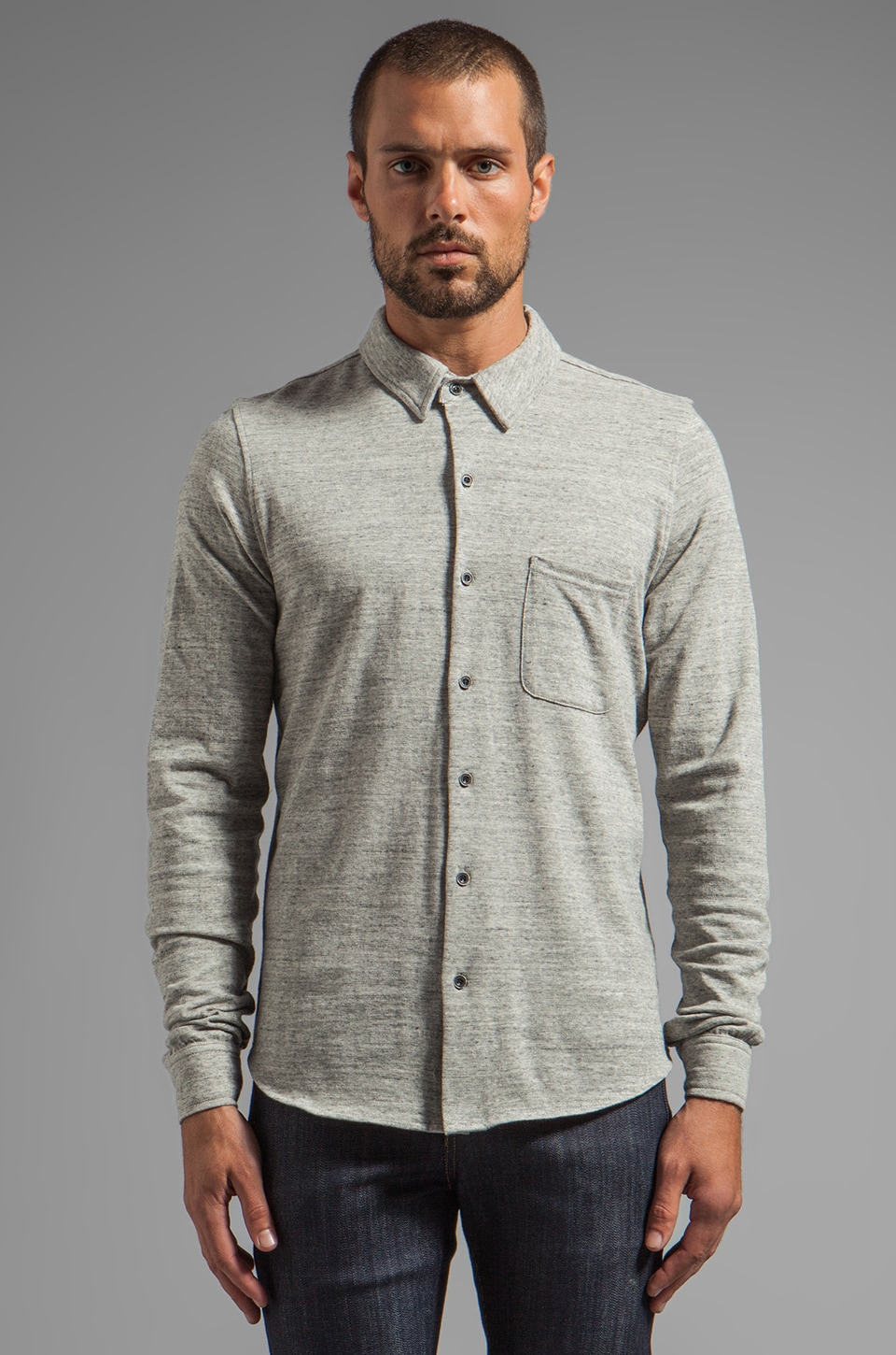 AG Adriano Goldschmied L/S Knit Button Down in Heather Grey