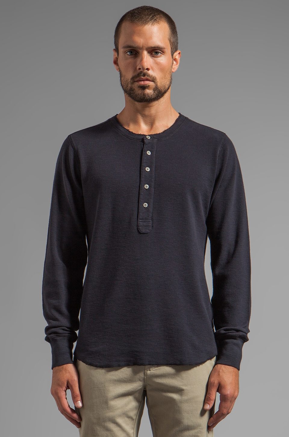 AG Adriano Goldschmied Raw Edge Henley in Navy