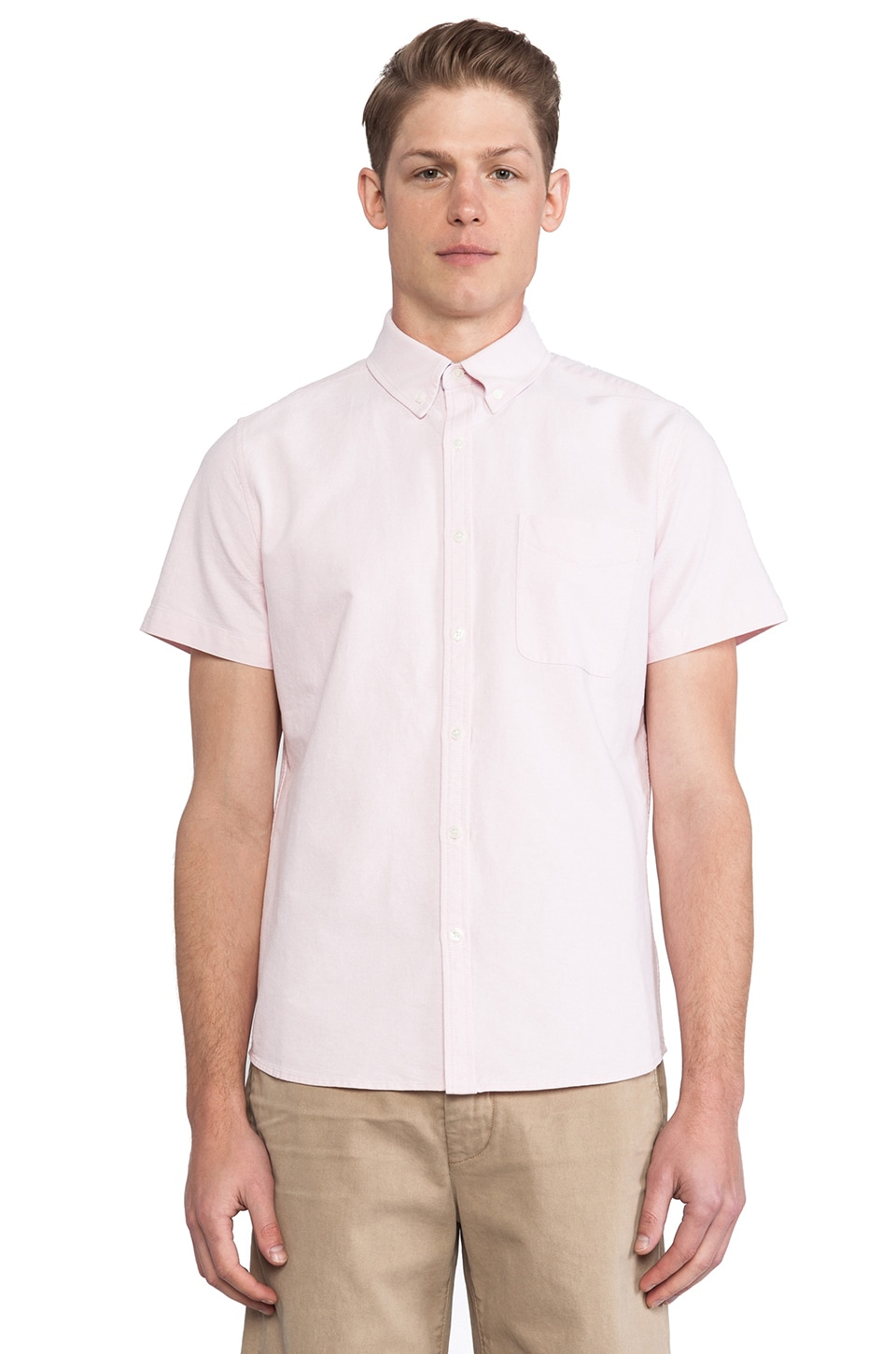 AG Adriano Goldschmied Aviator Shirt in Oxford Pink