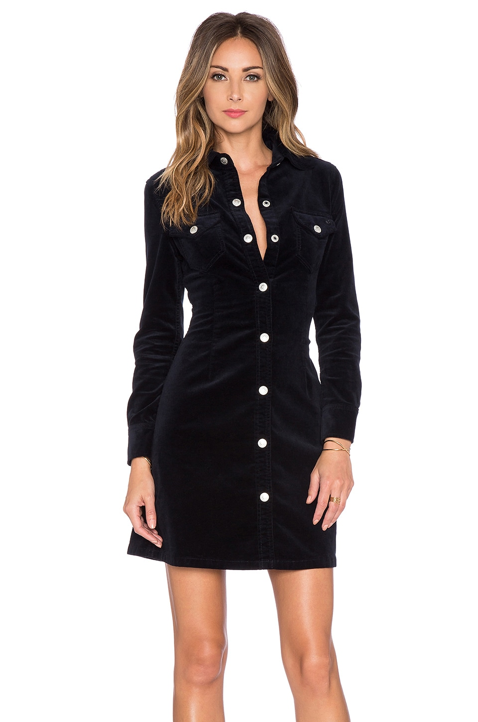 AG Adriano Goldschmied x Alexa Chung Pixie Dress Cord in Dark Navy