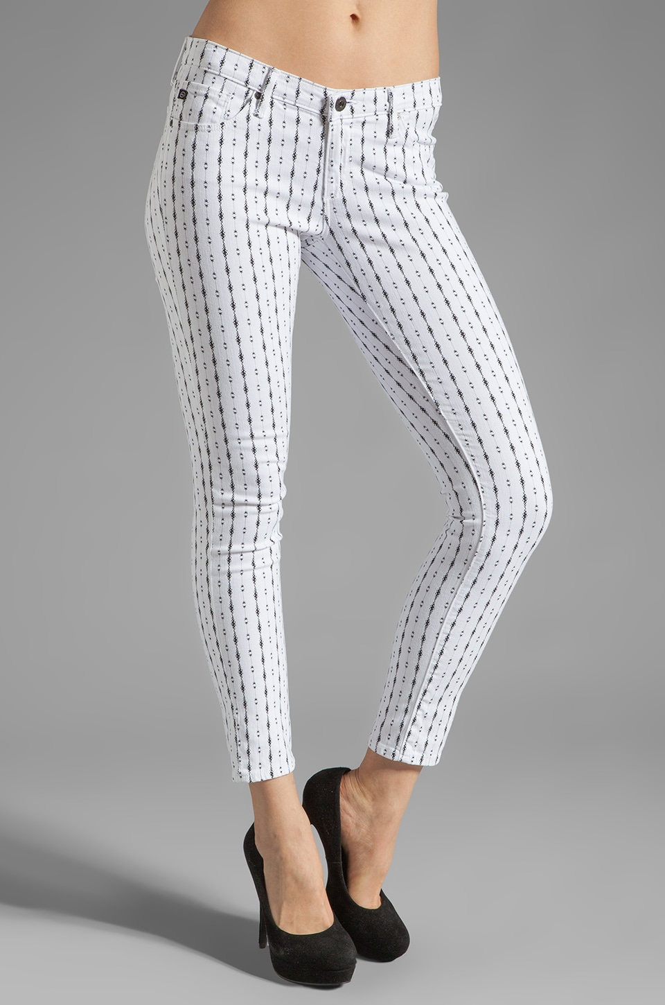 AG Adriano Goldschmied The Rocker Ankle Legging in Zig Zag White