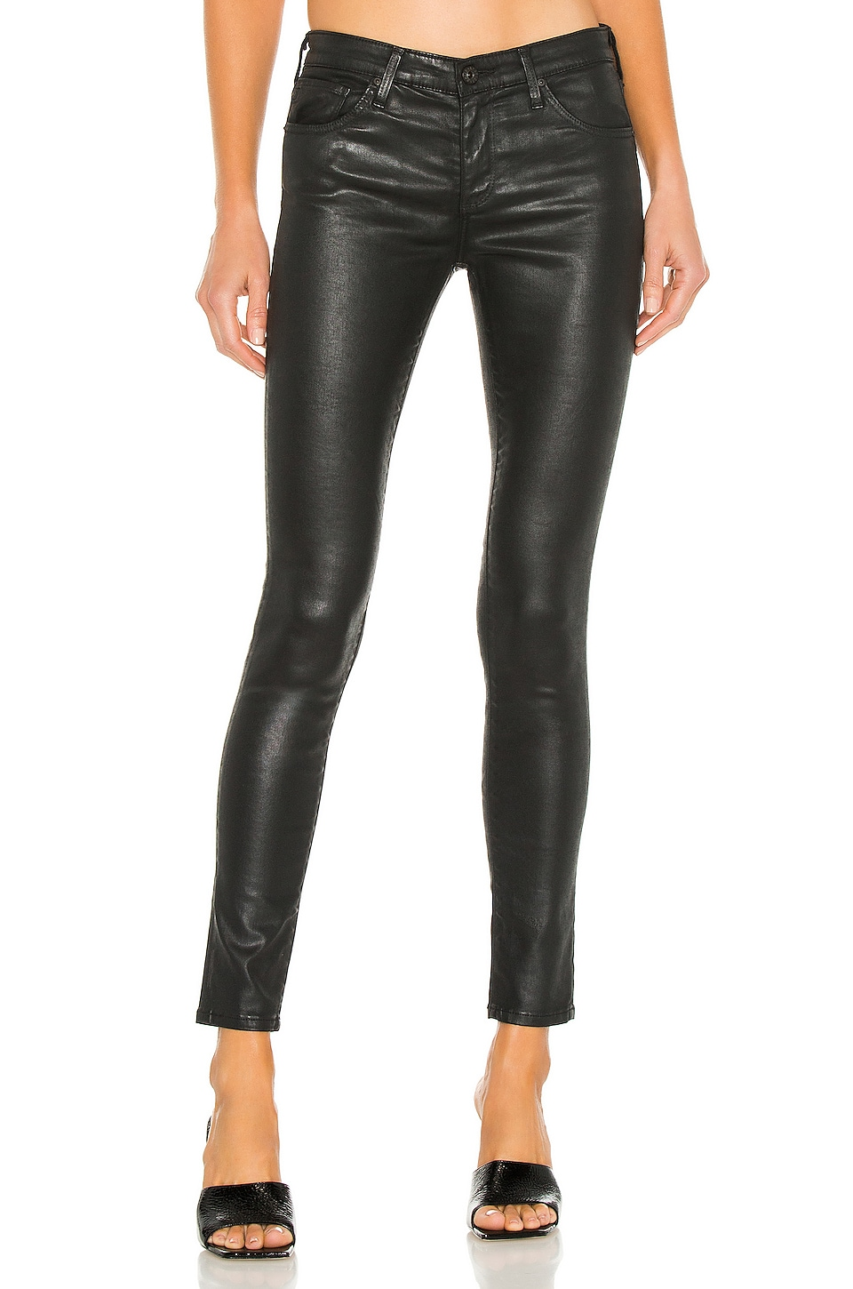 AG Adriano Goldschmied Legging Ankle in Leatherette Super Black