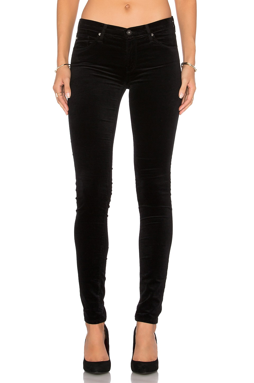 AG Adriano Goldschmied Velvet Legging in Super Black
