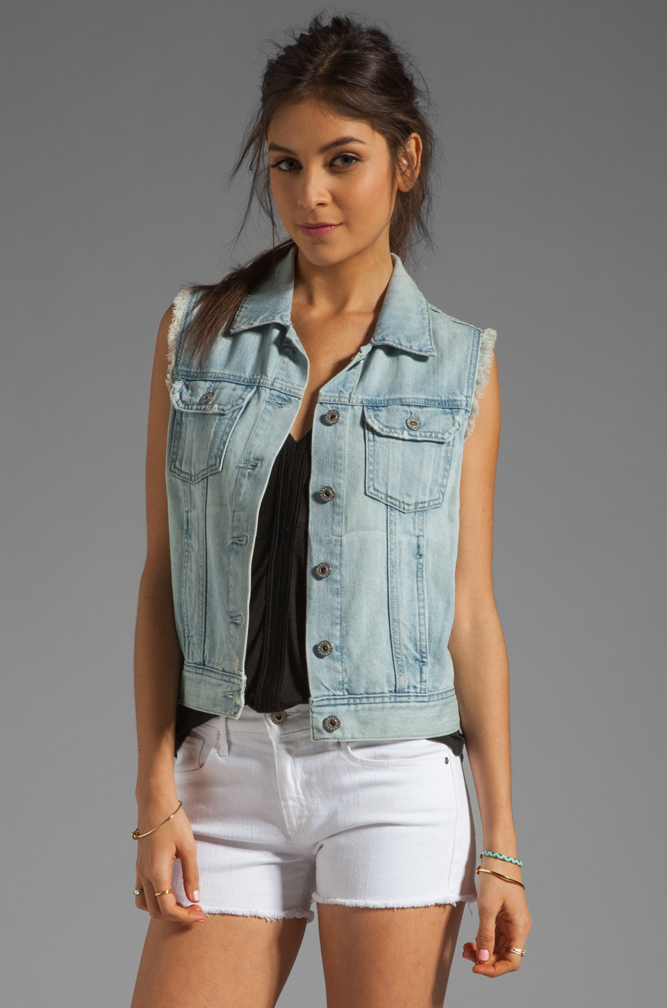 AG Adriano Goldschmied The Heather Easy Denim Vest in Dixon