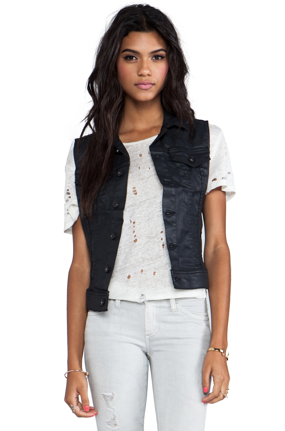 AG Adriano Goldschmied The Debbie Coated Denim Vest in Blackslick