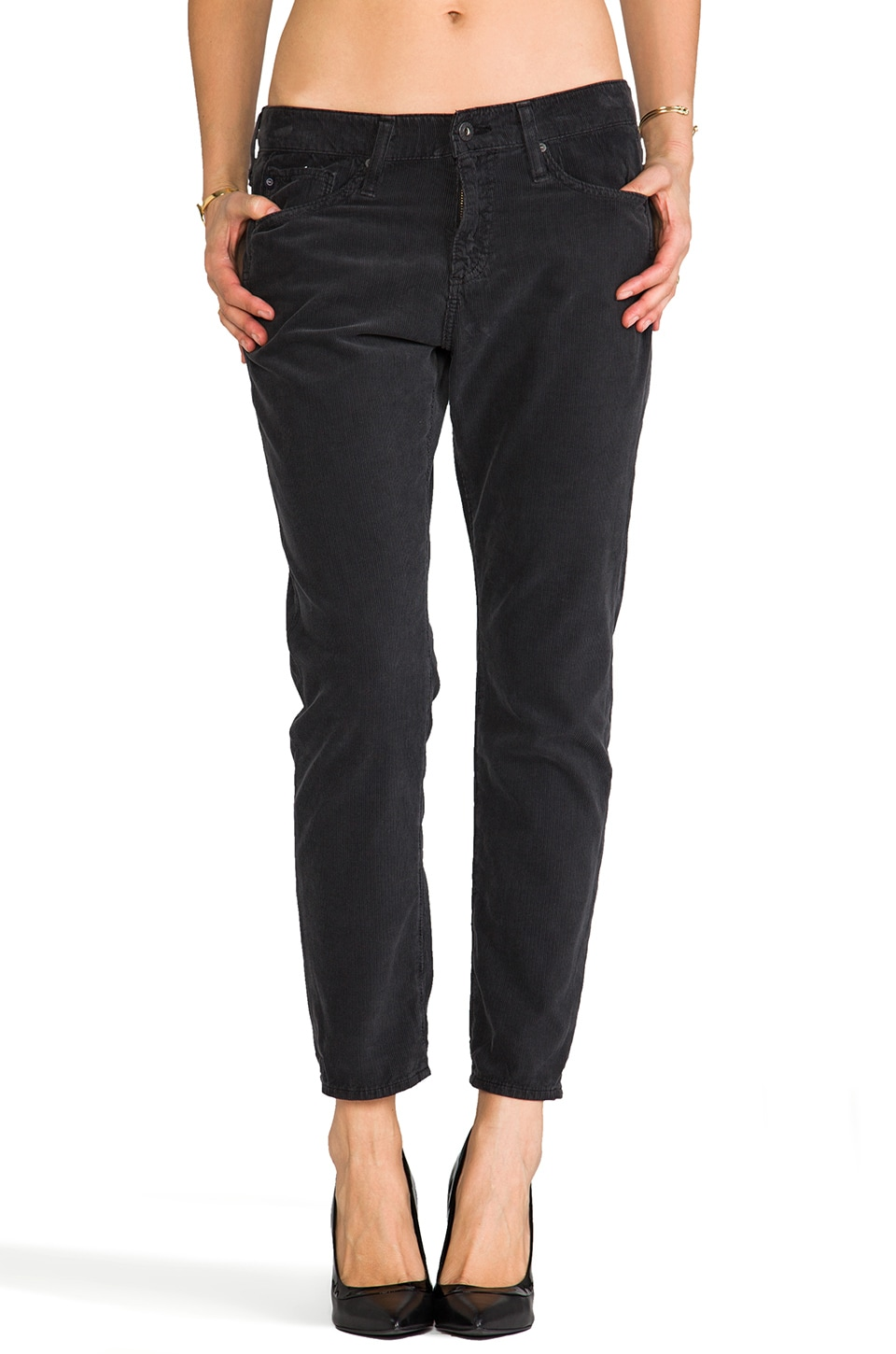 AG Adriano Goldschmied The Beau Slouchy Skinny Cord in Charcoal