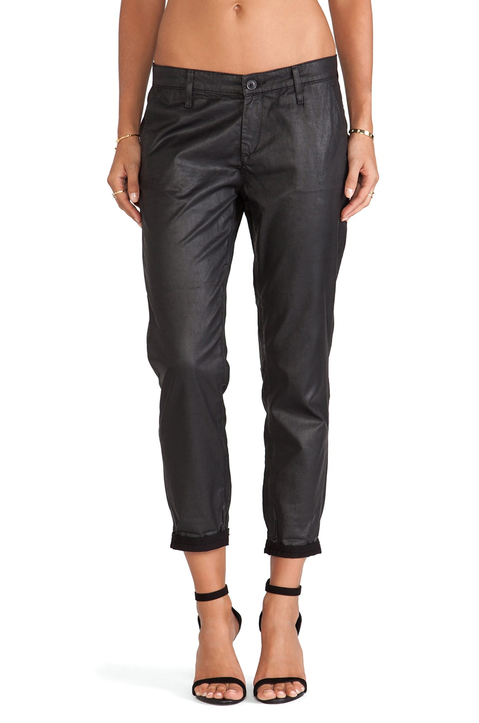 AG Adriano Goldschmied The Tristan in Leatherette in LT-Super Black